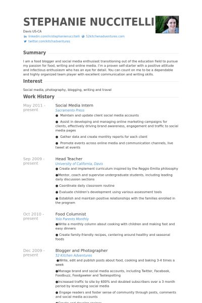 Social Media Intern Resume samples - VisualCV resume samples database