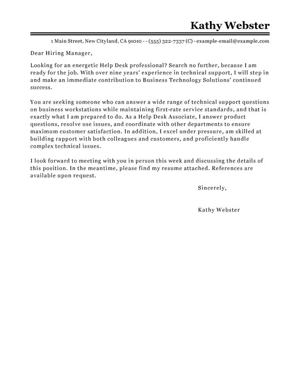 Best Help Desk Cover Letter Examples | LiveCareer