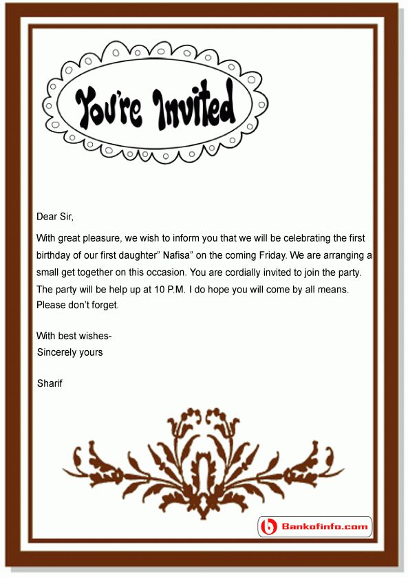 Sample Invitation Letter for Kid's Birthday Party
