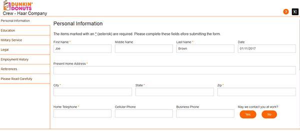 Dunkin' Donuts Job Application - Apply Online