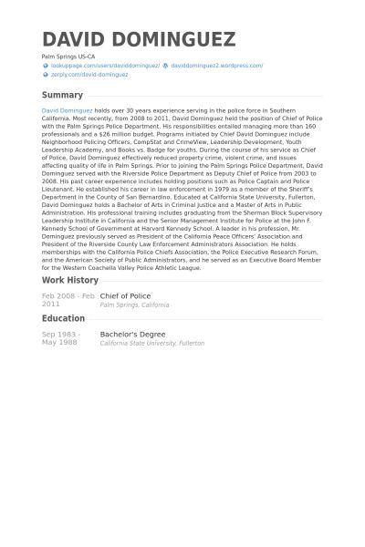 Chief Of Police Resume samples - VisualCV resume samples database
