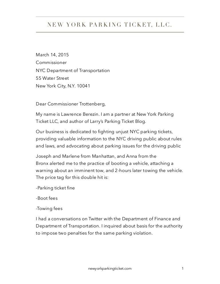Letter to Commissioner, NYC DOT About Unconscionable Boot and Tow