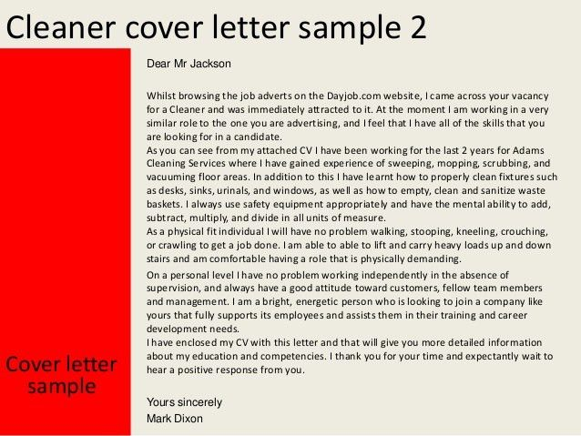 Best Sample Cover Letter For Cleaning Job 60 About Remodel Amazing ...