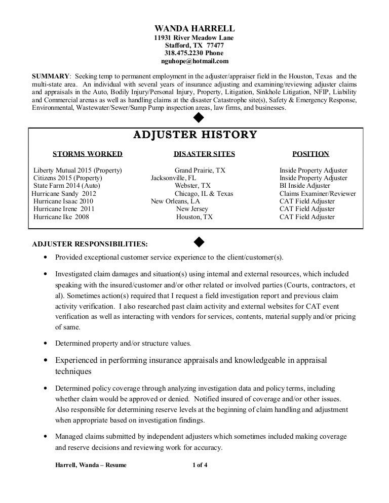 Claims adjuster resume