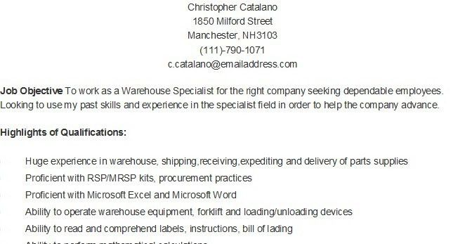 Warehouse Specialist Resume 12 Sample Resume For A Warehouse ...