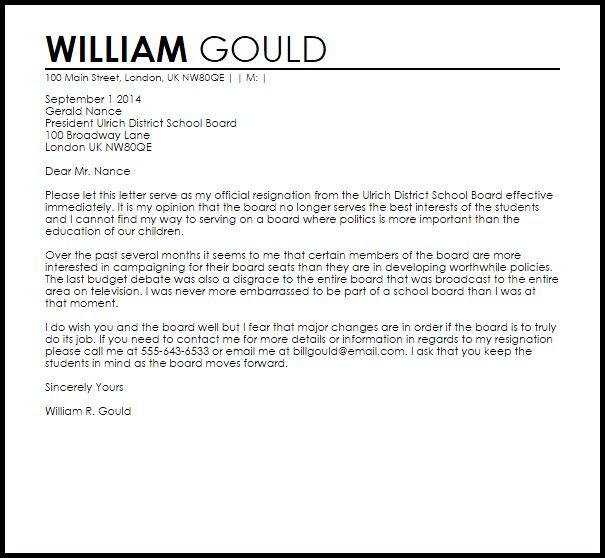 School Board Resignation Letter | Resignation Letters | LiveCareer