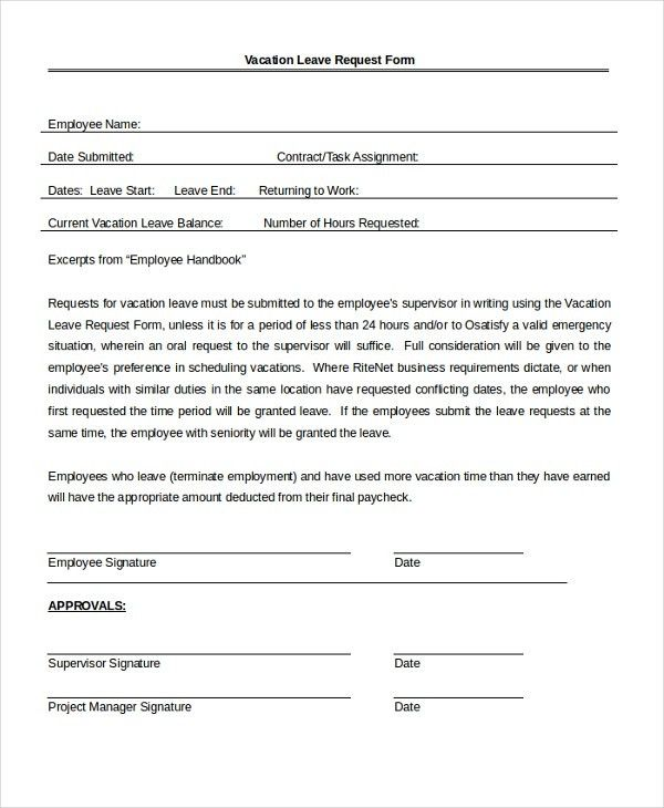 Employee Leave Form. Disciplinary Action Form 23 40 Employee .  Example Of Leave Form