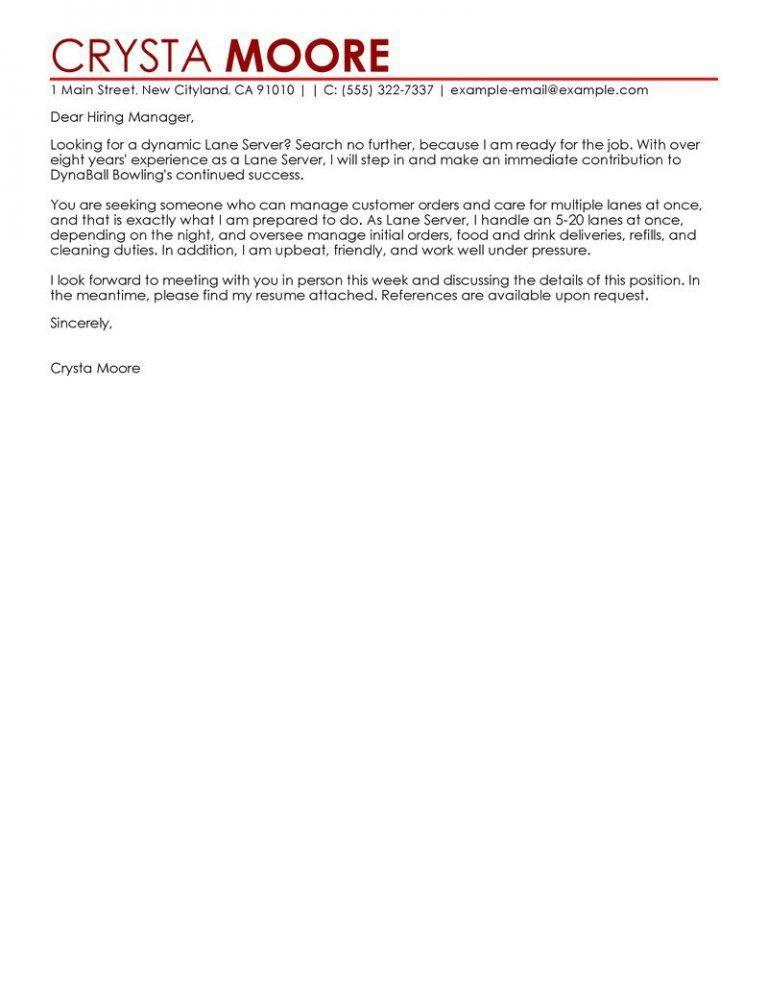 Cool Design Ideas Server Cover Letter 11 Best Lane Examples - CV ...