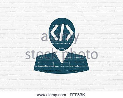 Database concept: Programmer on wall background Stock Photo ...