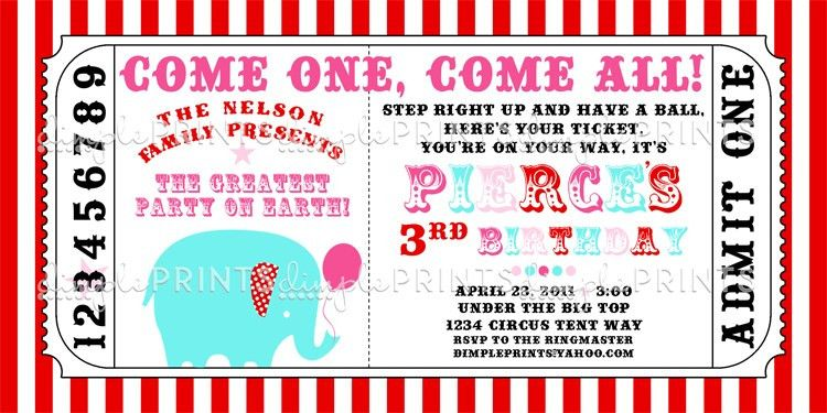 Circus Carnival Ticket Printable Invite - Dimple Prints Shop