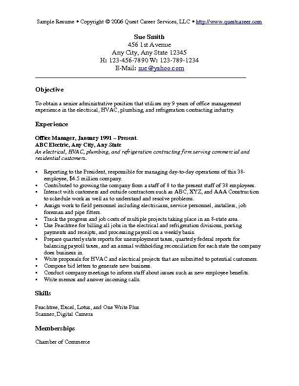 general objective examples for job resume template example. good ...