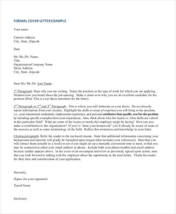 47 formal letter format templates free premium templates - Formal Covering Letter