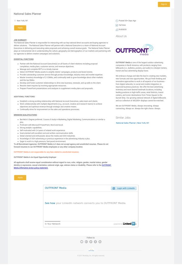 National Sales Planner job at OUTFRONT Media in New York City, NY ...