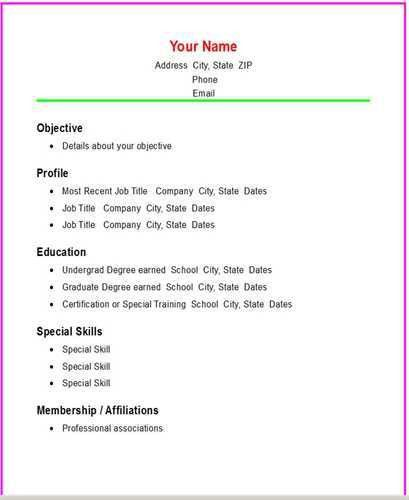 easy sample resume basic chronological resume template open resume ...