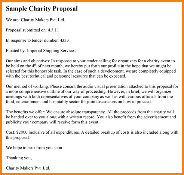 8+ charity proposal | Proposal Template 2017