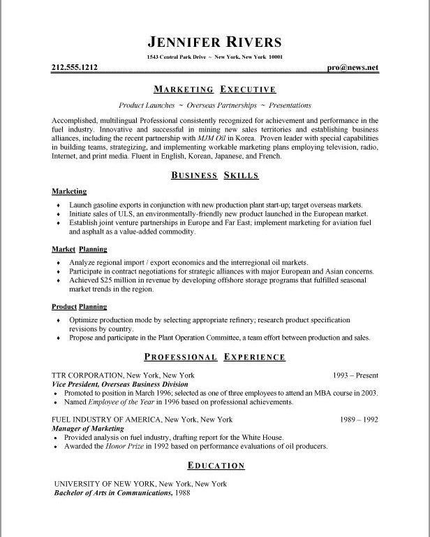 Sweet-Looking Business Resume Format 7 25 Best Ideas About Sample ...