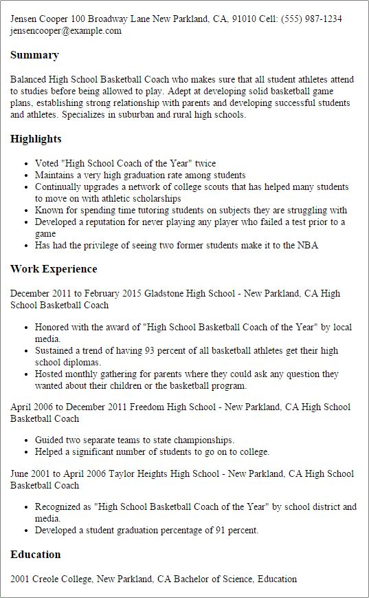 Projects Ideas Basketball Coach Resume 2 Professional High School ...