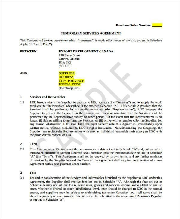 Service Agreement Forms