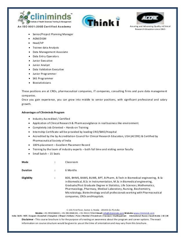 Advanced Post Graduate Diploma in Clinical Research, Clinical Data Ma…