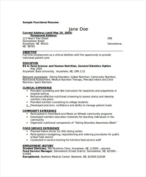 Food Service Resume Template. Food Service Assistant Manager ...