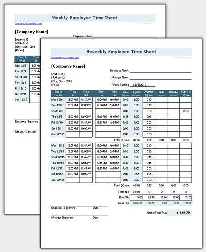 employee time sheets template free