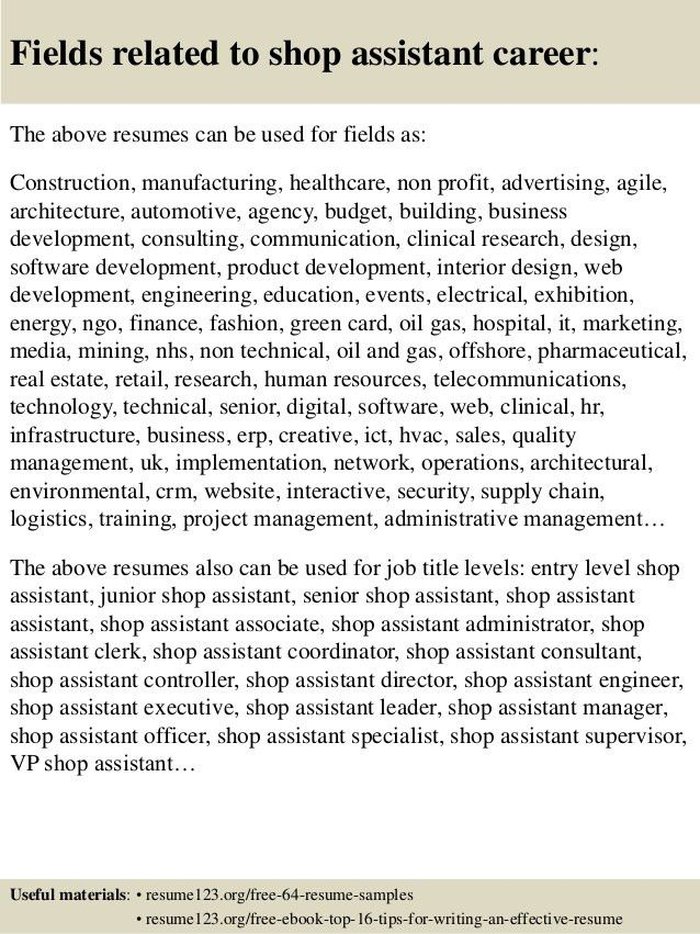 Top 8 shop assistant resume samples