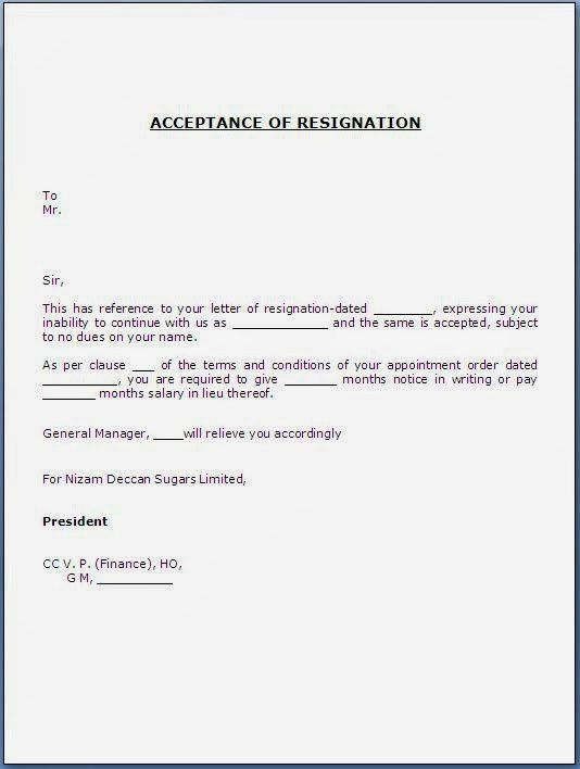 Resignation Letter Format: Template To Fill In Accepting A ...
