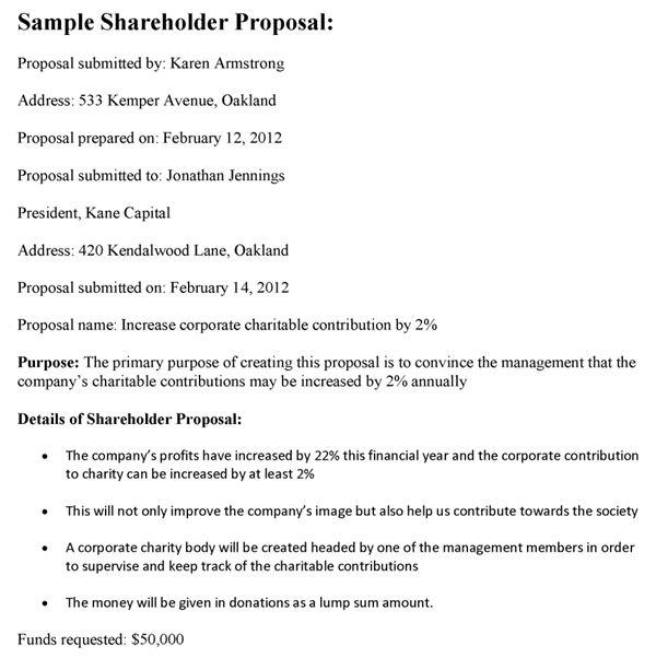 Sample Shareholder Proposal