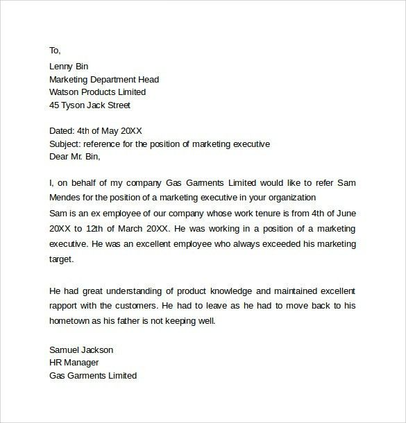 Personal Reference Letter Template - 12+ Samples , Examples & Formats