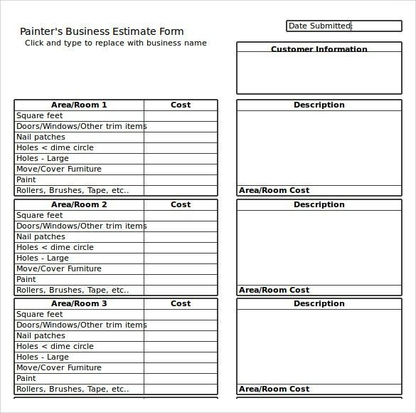 Estimate Sheet. Quantity Take Off Sheets Bid Form | Estimate .