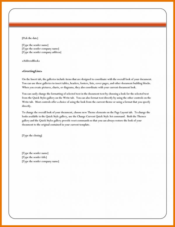 Letter Format In Word.Mail Merge Letter Template For Microsoft ...