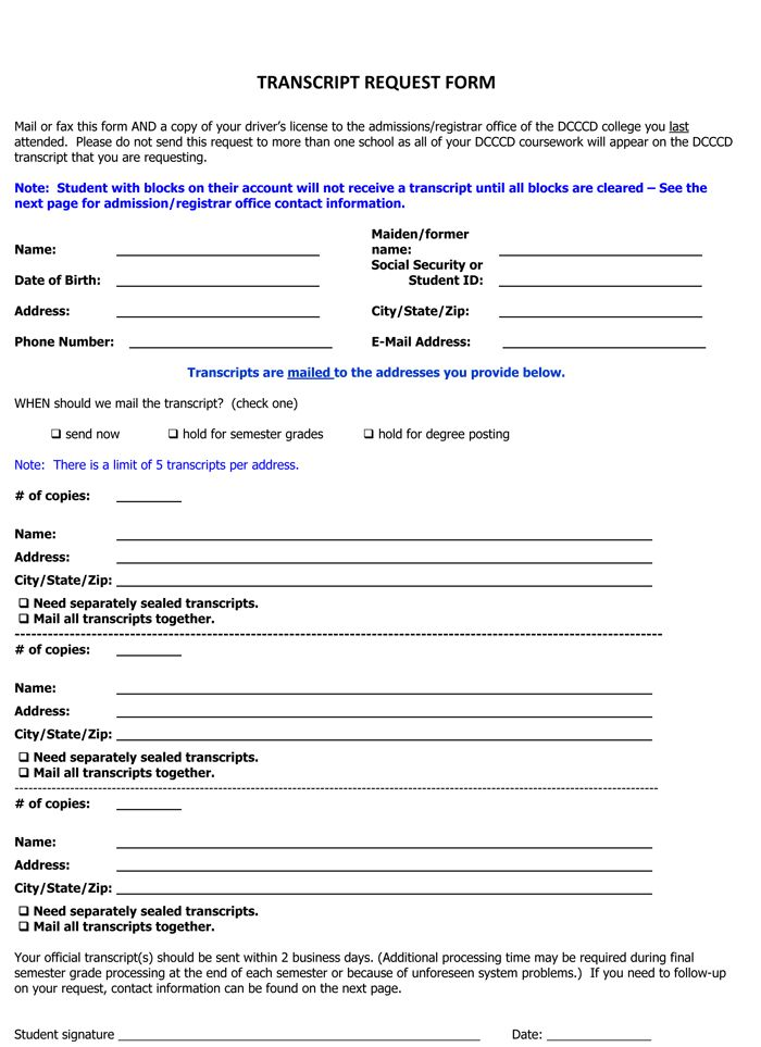 6 Plus Printable Transcript Request Templates