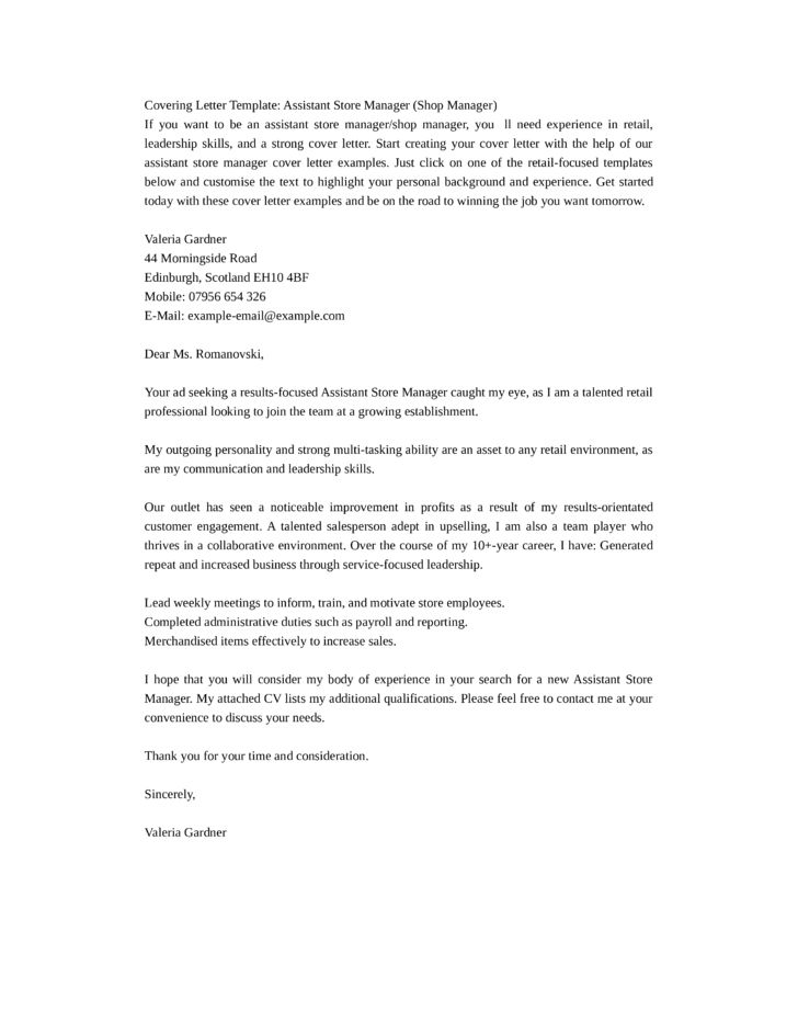 Basic Assistant Store Manager Cover Letter Samples and Templates