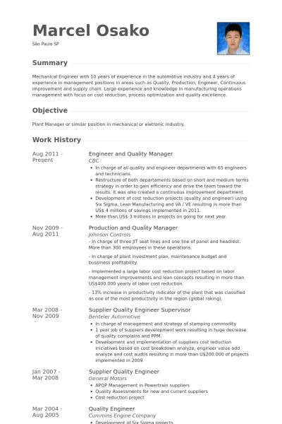 Quality Manager Resume samples - VisualCV resume samples database