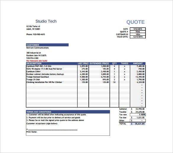price quotation templates - thebridgesummit.co