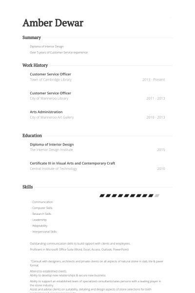 Customer Service Officer Resume samples - VisualCV resume samples ...
