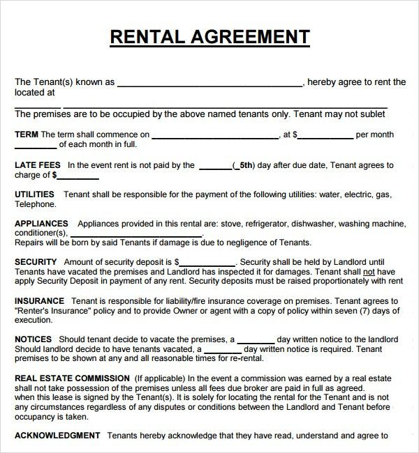 Rent Agreement Form. Blank Rental Agreement Template 20+ Rental ...