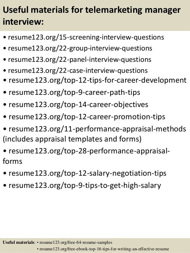 Top 8 telemarketing manager resume samples