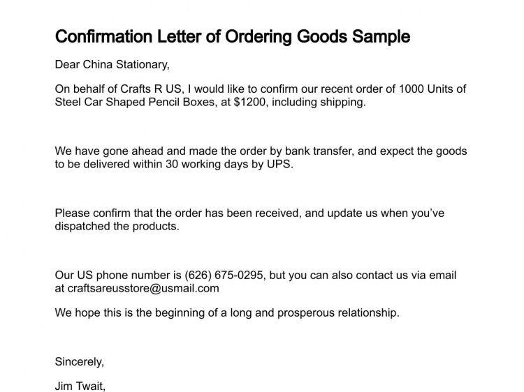 Letter of Ordering Goods