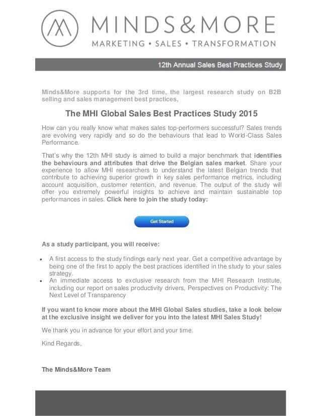 2013 MHI Sales Best Practices Study- Executive summary