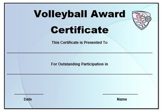 Volleyball certificate templates word | Volleyball certificates ...