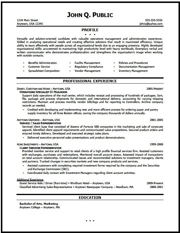 Operations Manager Resume Sample - The Resume Clinic