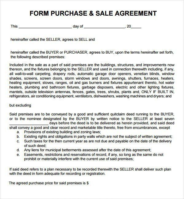 10 Best Images of Purchase And Sale Agreement Form - Free Purchase ...
