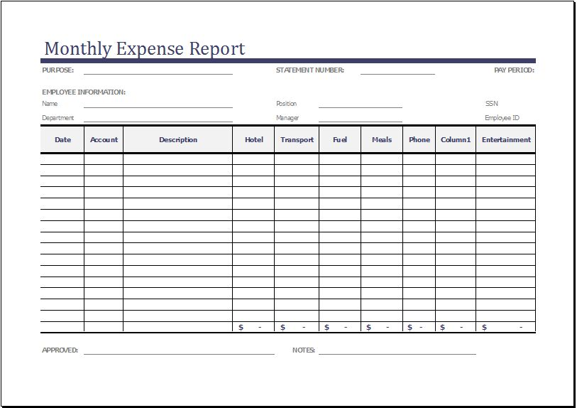 Expense Report Templates for EXCEL | Formal Word Templates