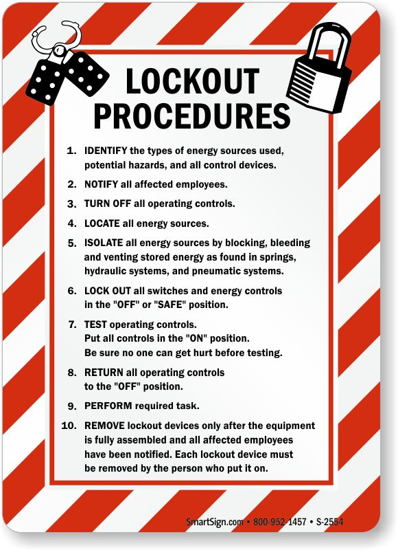 Lockout Procedures Sign with Graphic, SKU: S-2554 - MySafetySign.com