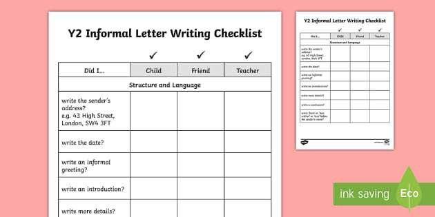 Year 2 Informal Letter Writing Checklist - Y2, checklists