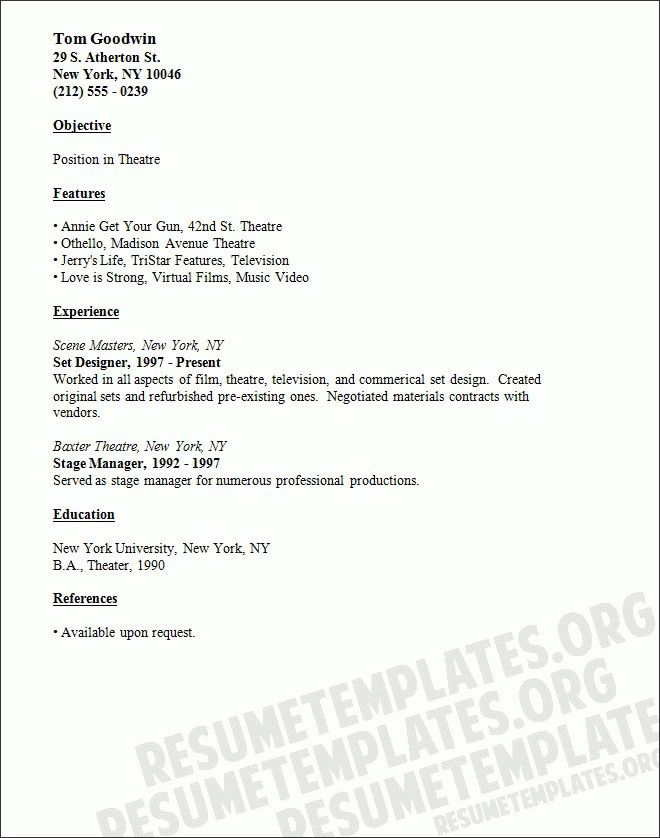 theatrical resume template with resume templates for kids - Resume Template For Kids