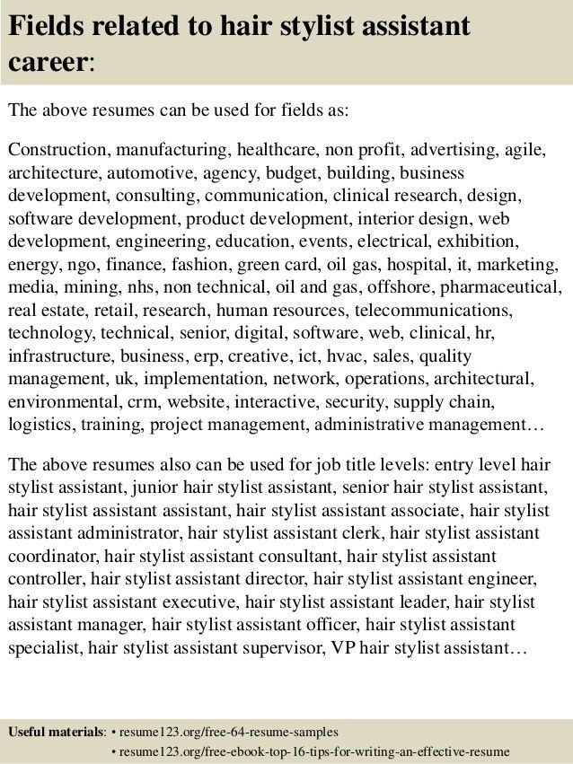 assistant hair stylist hair stylist assistant resume