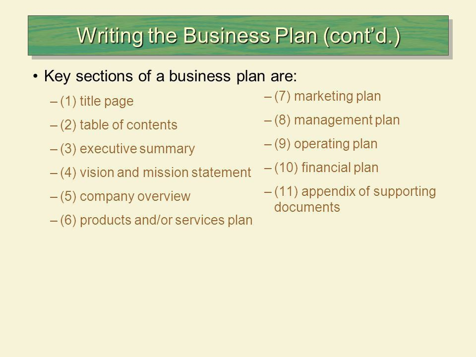 The Business Plan A business plan is a document that sets out the ...