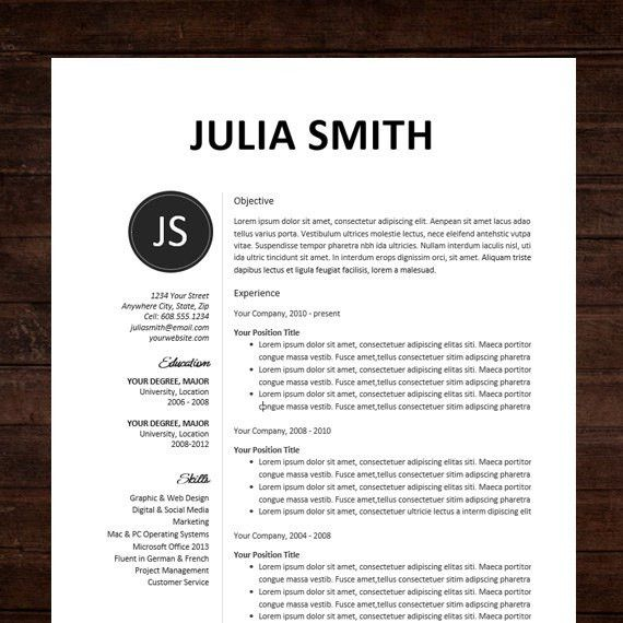 NEW! Resume Template & Cover Letter / The Julia | Instant Download ...